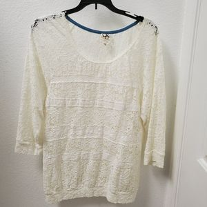 Marigola Stretchy Lace Top One September Anthro L